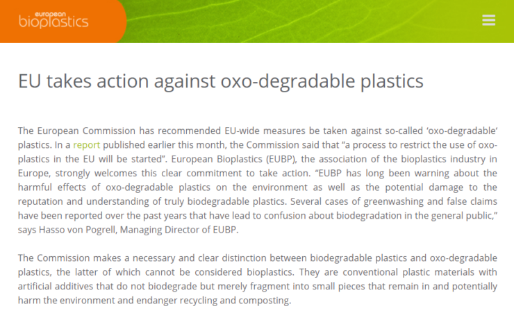 EU try to ban Oxo plastics