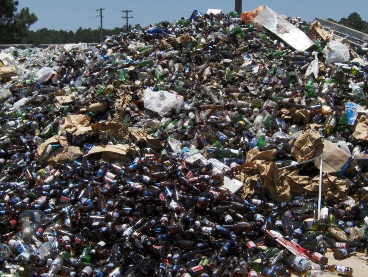 glass bottles in a landfill
