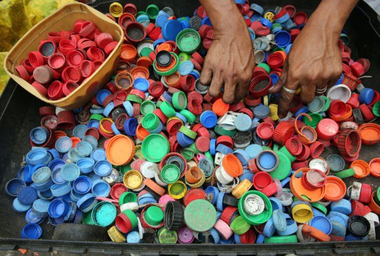 Plastic caps left behind