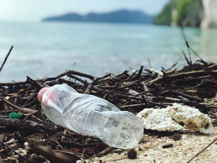 plastic water bottle near the ocean