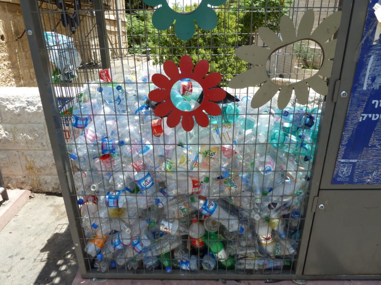 plastic bottled recycling bin