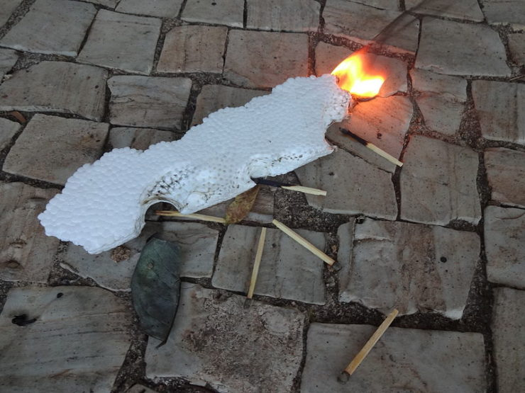 Styrofoam on fire