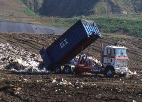 Dump truck at a landfill