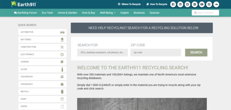 Earth 911 recycling database