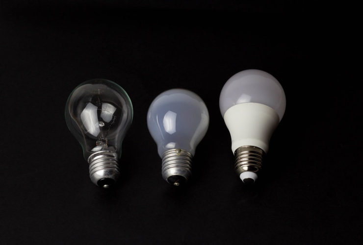 Different styles of light bulb