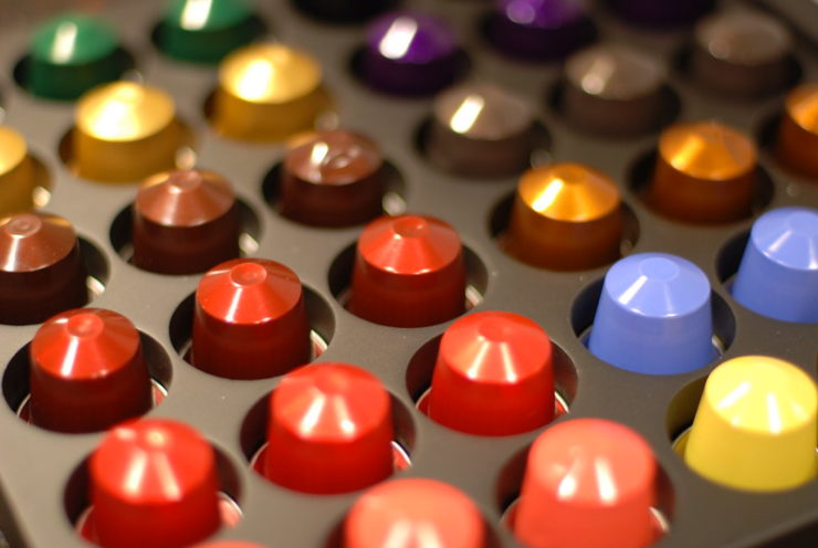 Nespresso coffee pods in tray