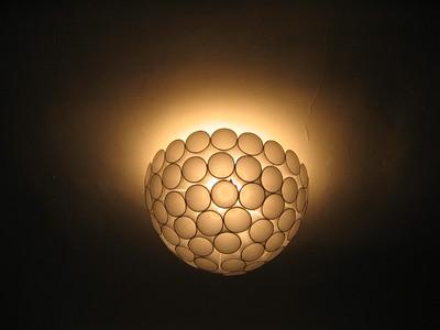 Styrofoam cup lamp shade