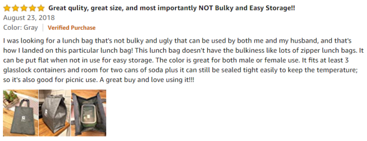 Amazon review of one of the best reusable lunch bags