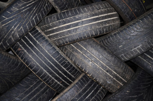 old tires ready for recycling