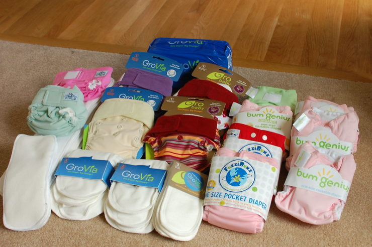 Pile of cloth diapers