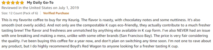 Boyd's Coffee Amazon review