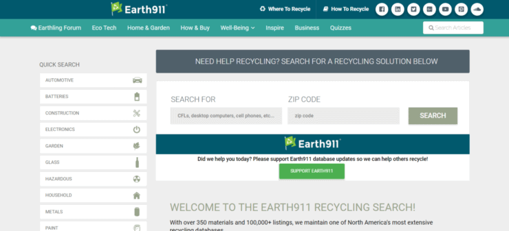 Earth 911 search page
