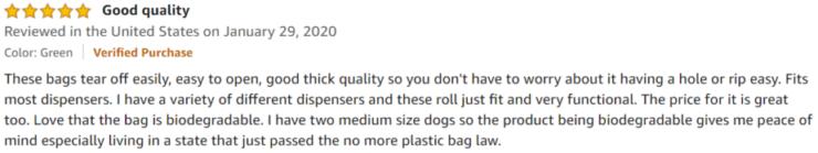 Greener Walker Poop Bags Amazon review