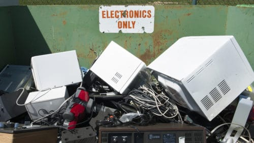 electronics being recycled