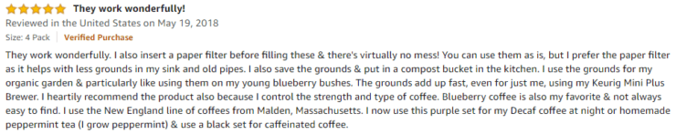 Delibru K cup Amazon review