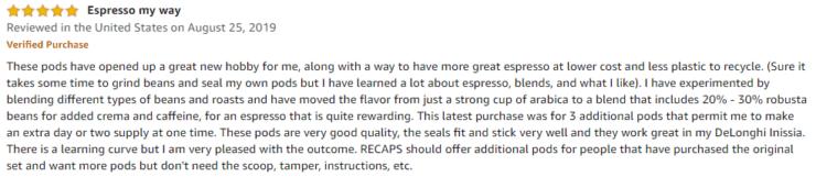 RECAPS Amazon review