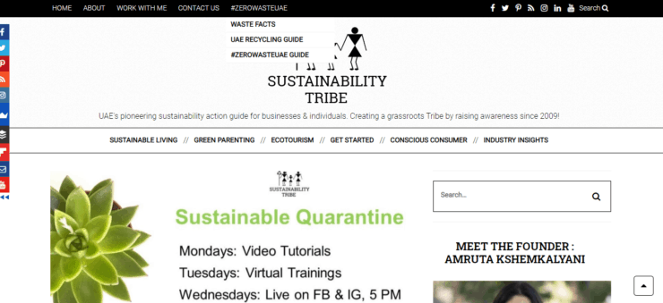 Sustainability Tribe homepage